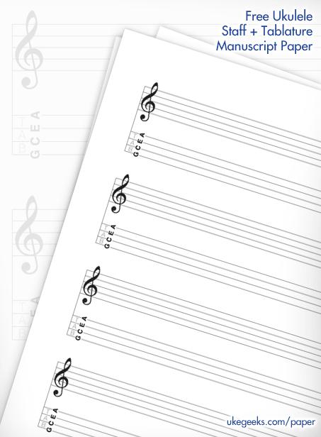 Guitar guitar tablature manuscript paper : Free Blank Ukulele Staff & Tablature Music Manuscript Paper   UkeGeeks